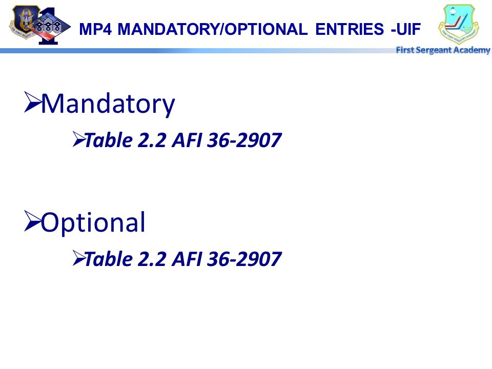 MP4 MANDATORY/OPTIONAL ENTRIES -UIF