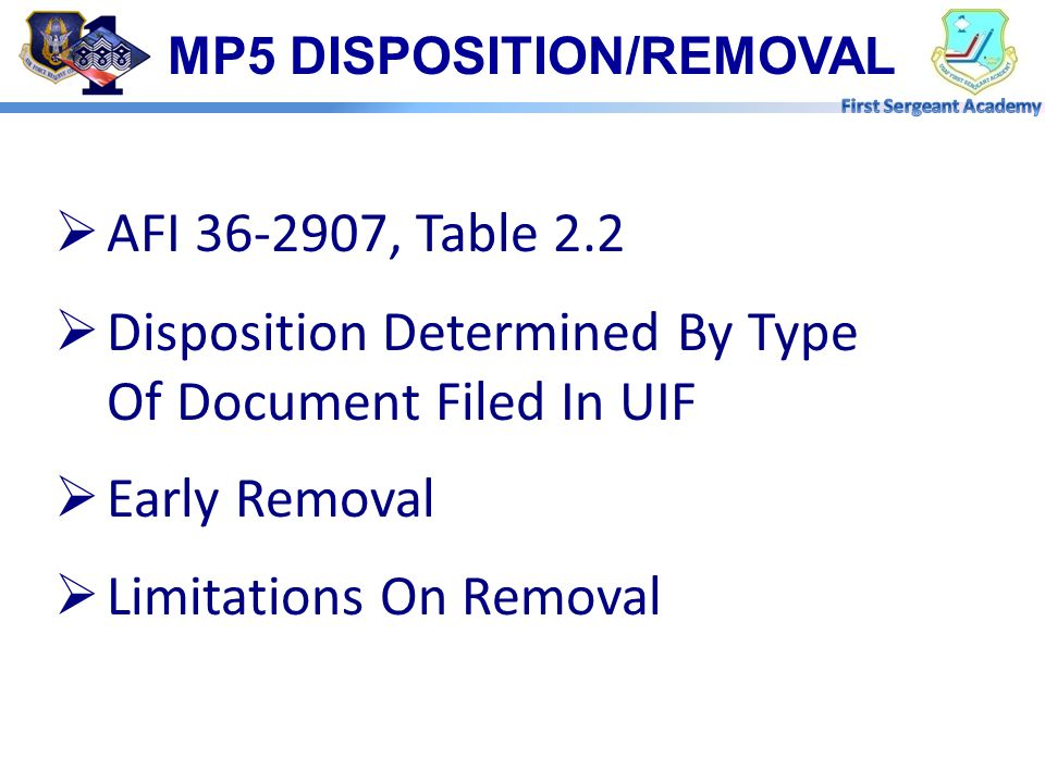 MP5 DISPOSITION/REMOVAL