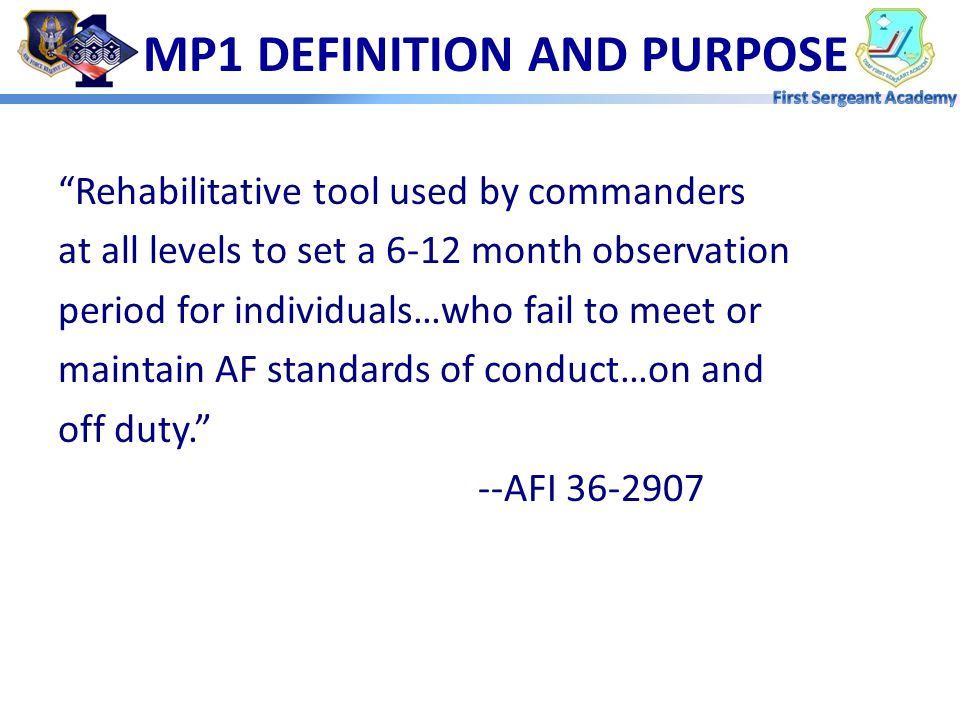 MP1 DEFINITION AND PURPOSE