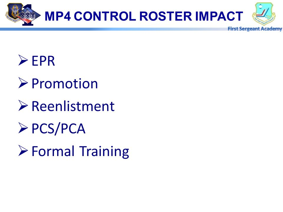MP4 CONTROL ROSTER IMPACT