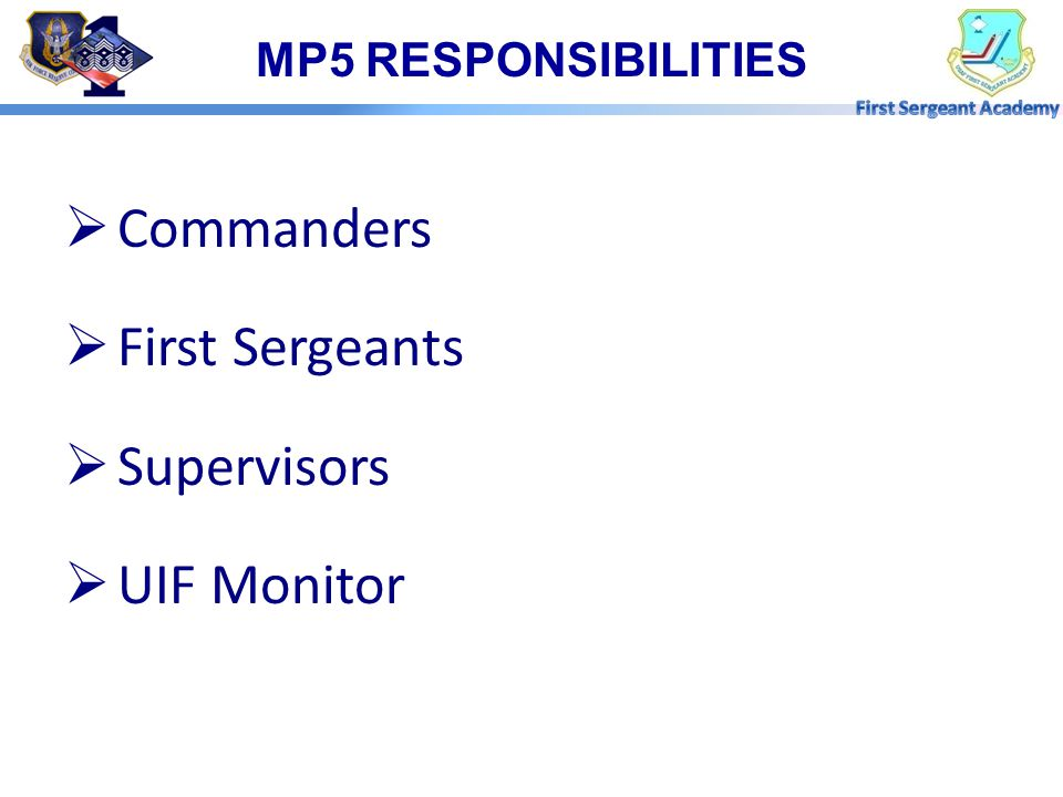Commanders First Sergeants Supervisors UIF Monitor