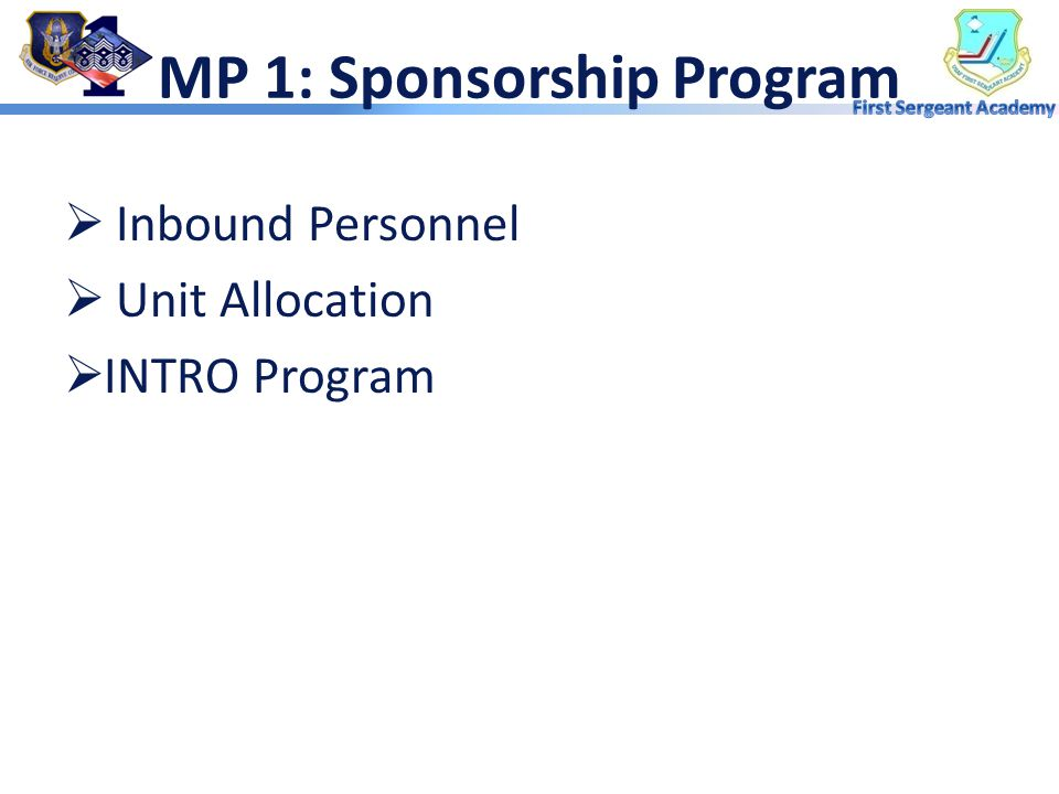 MP 1: Sponsorship Program