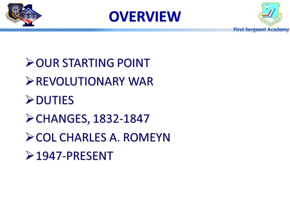 OVERVIEW OUR STARTING POINT REVOLUTIONARY WAR DUTIES