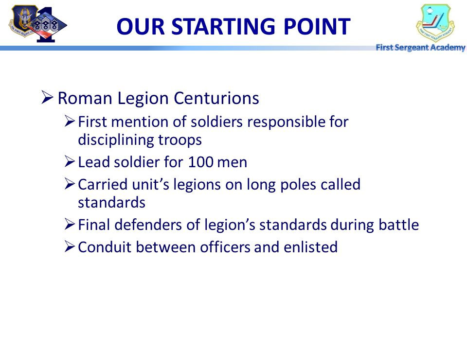 OUR STARTING POINT Roman Legion Centurions