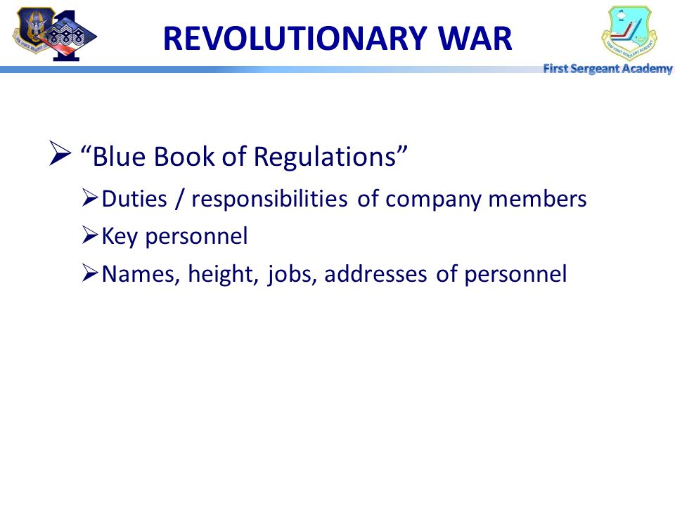 REVOLUTIONARY WAR Blue Book of Regulations