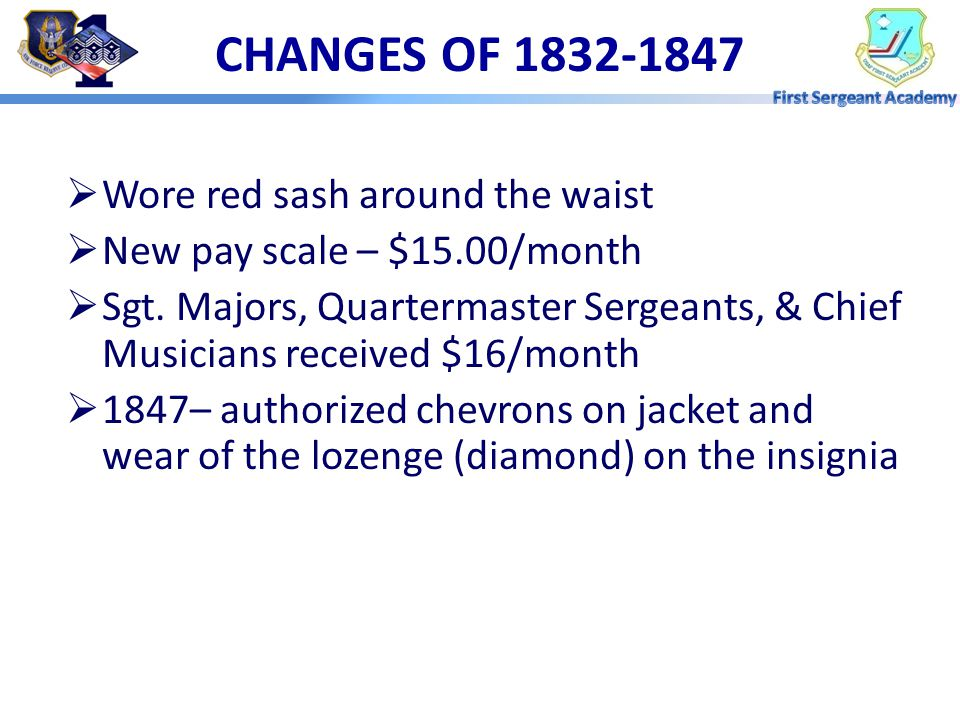 CHANGES OF 1832-1847 Wore red sash around the waist