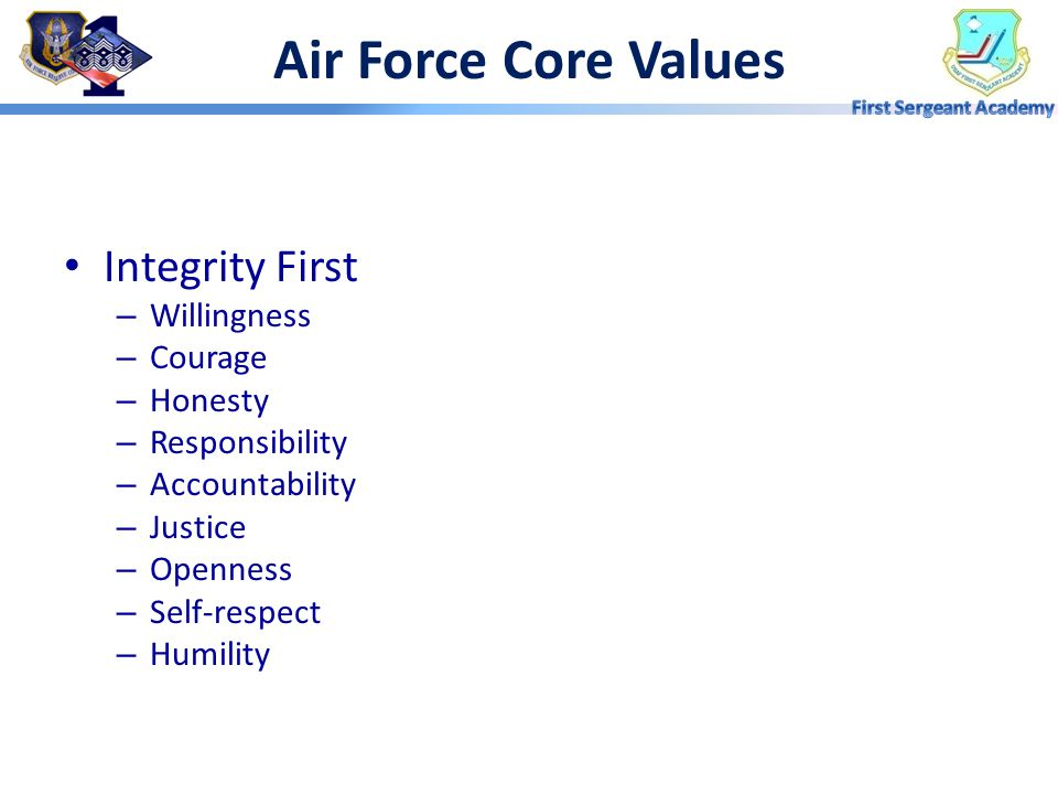 Air Force Core Values Integrity First Willingness Courage Honesty