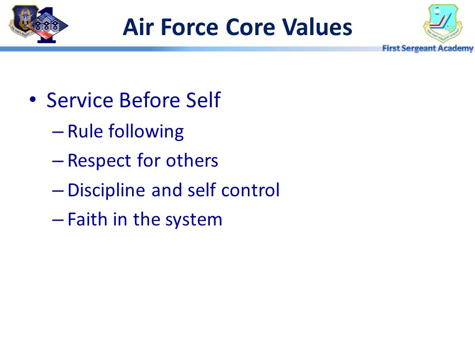 Air Force Core Values Service Before Self Rule following