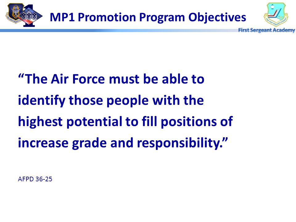MP1 Promotion Program Objectives
