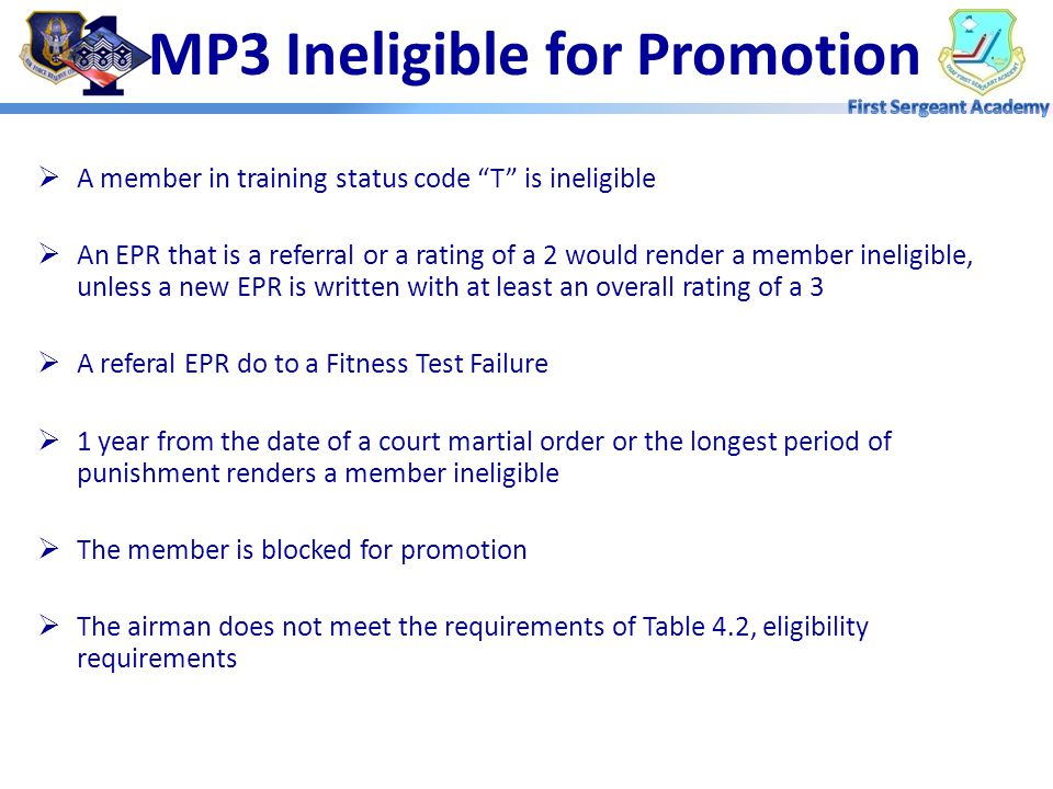 MP3 Ineligible for Promotion