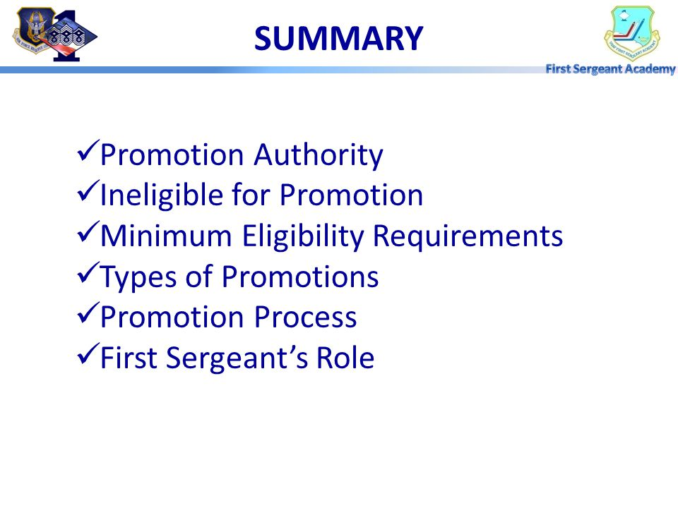 SUMMARY Promotion Authority Ineligible for Promotion