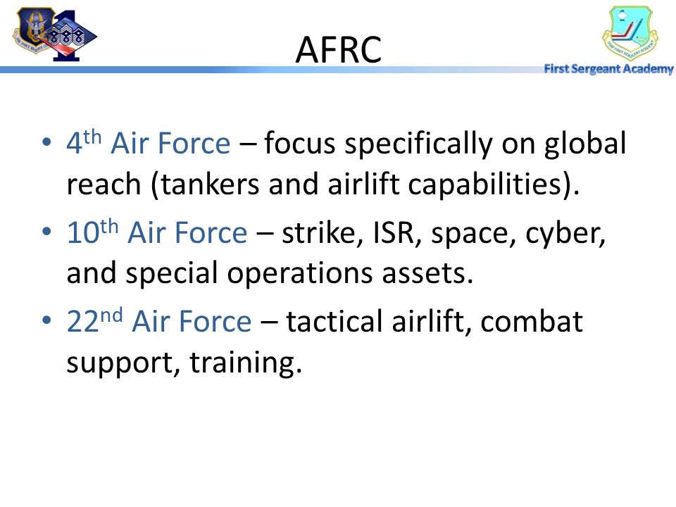 AFRC 4th Air Force – focus specifically on global reach (tankers and airlift capabilities).