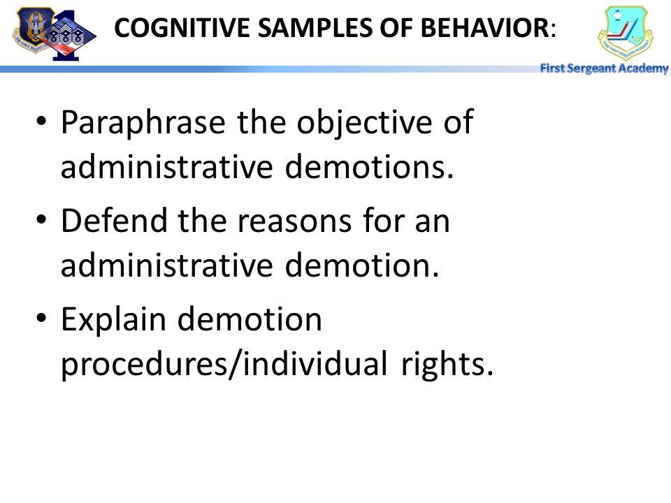 COGNITIVE SAMPLES OF BEHAVIOR: