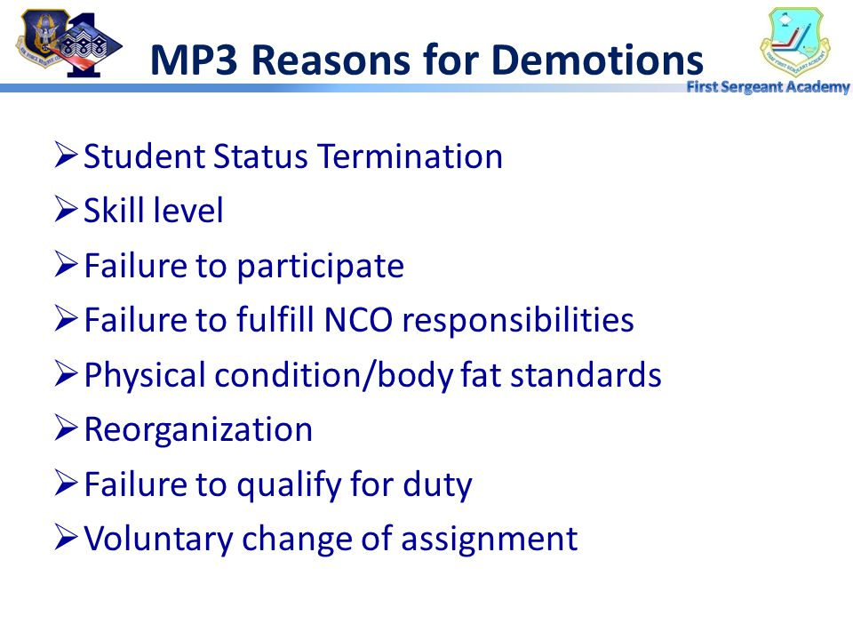 MP3 Reasons for Demotions