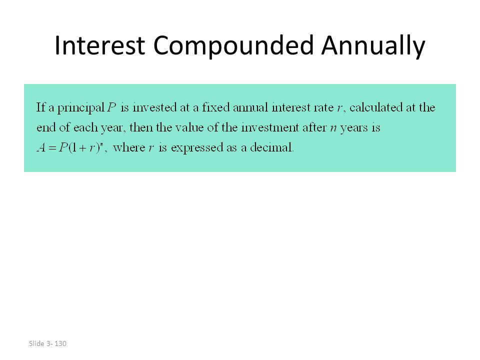 Interest Compounded Annually