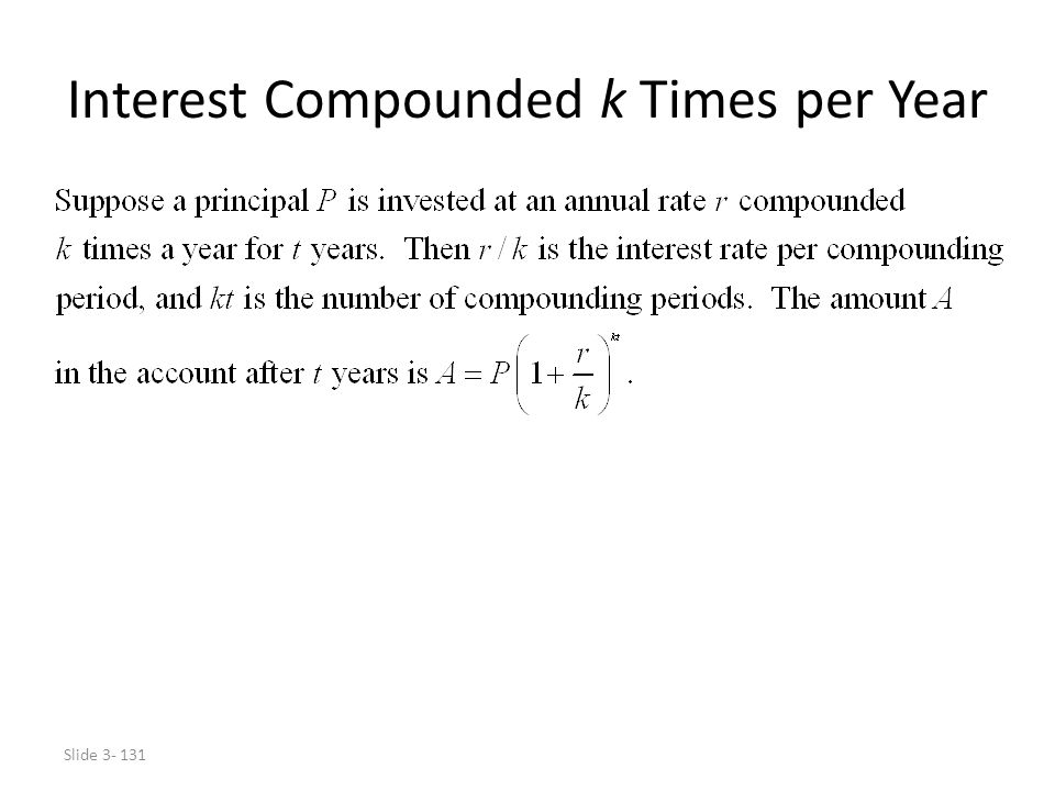 Interest Compounded k Times per Year