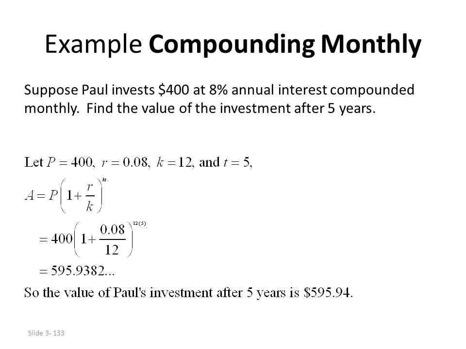 Example Compounding Monthly