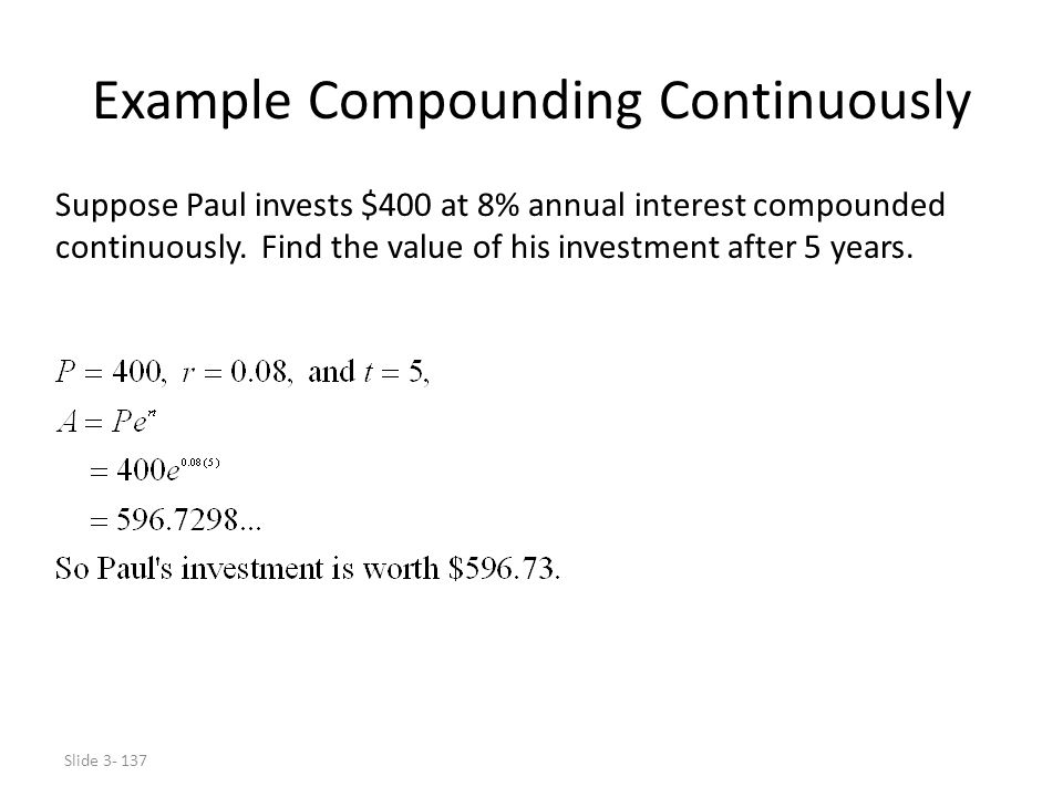 Example Compounding Continuously