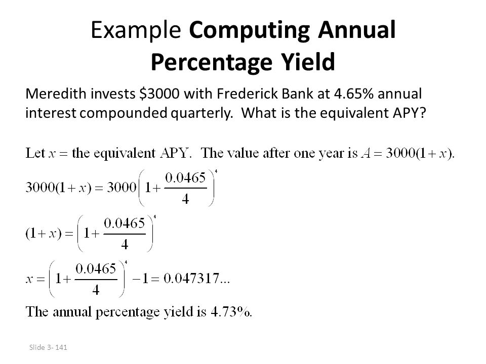 Example Computing Annual Percentage Yield
