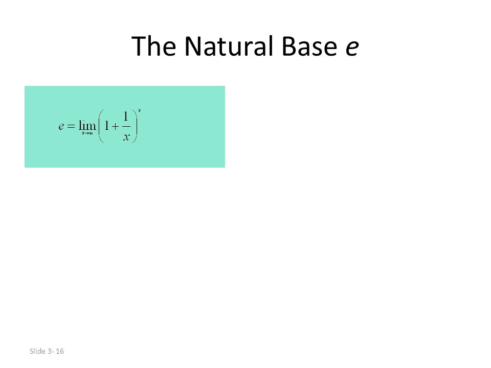 The Natural Base e