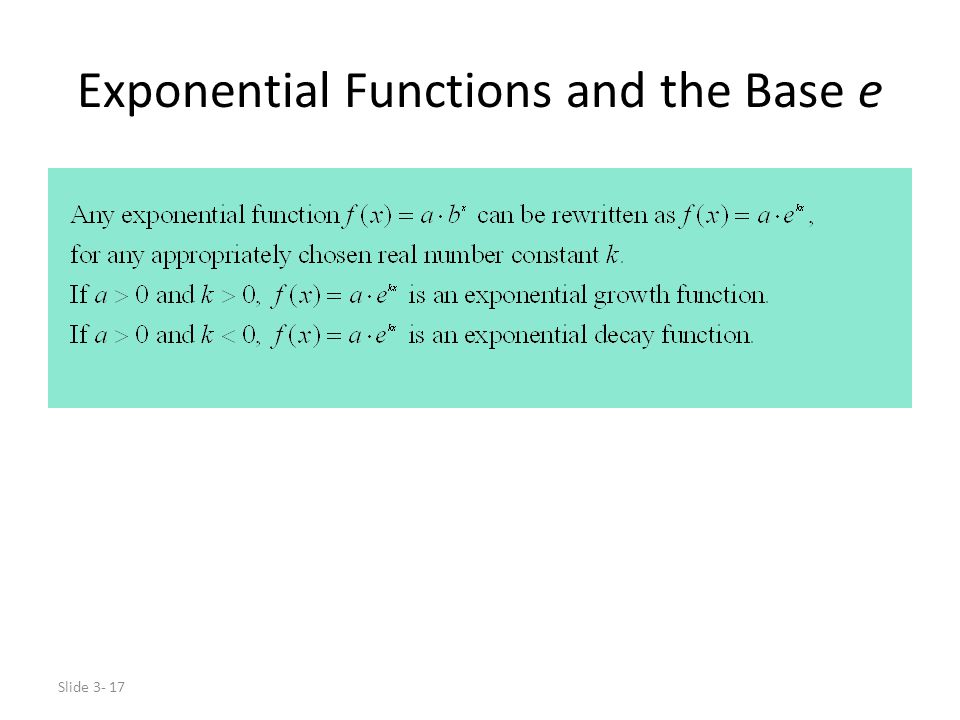 Exponential Functions and the Base e