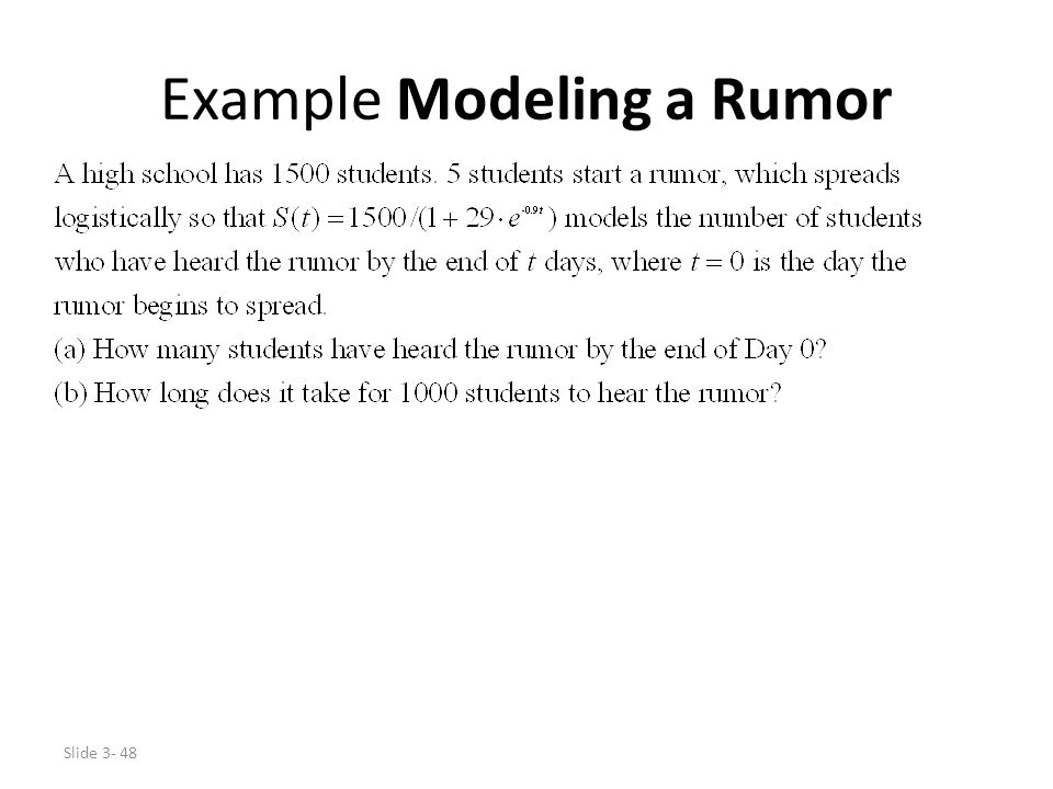 Example Modeling a Rumor