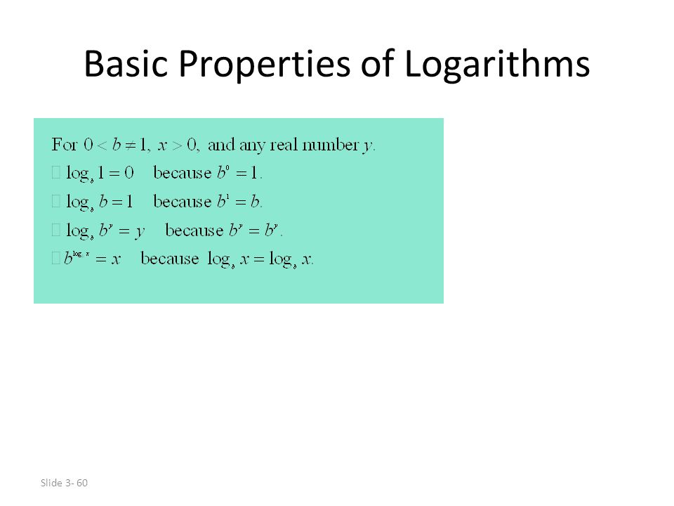 Basic Properties of Logarithms