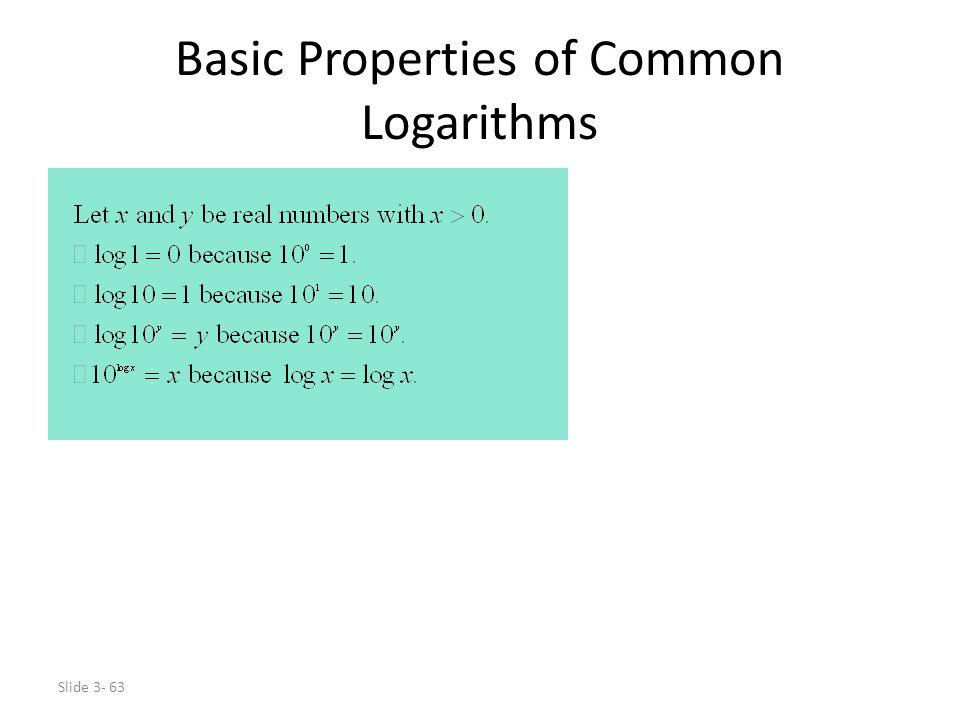 Basic Properties of Common Logarithms