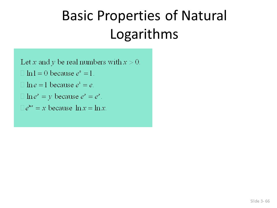 Basic Properties of Natural Logarithms