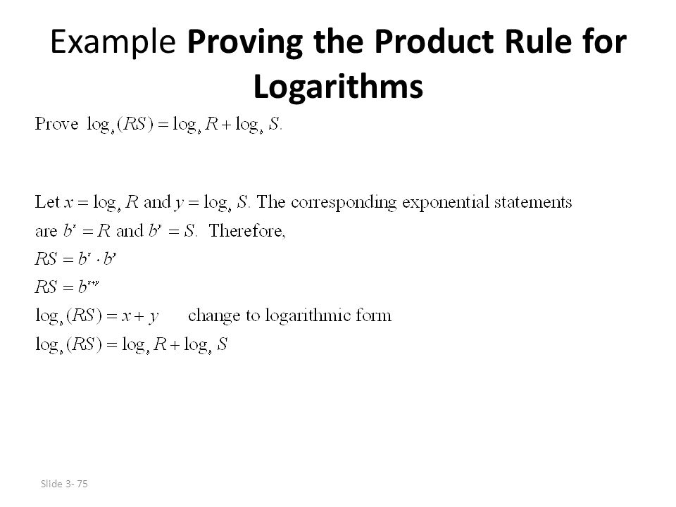 Example Proving the Product Rule for Logarithms