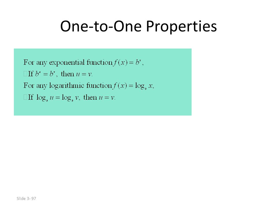 One-to-One Properties