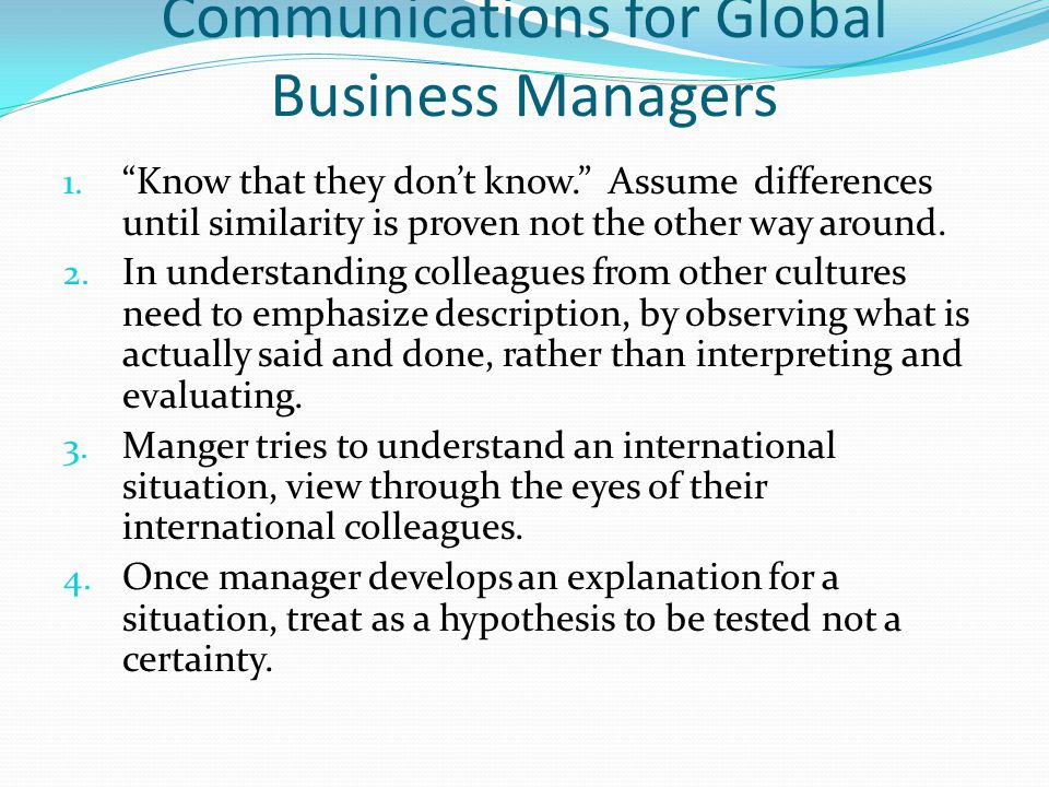 Communications for Global Business Managers