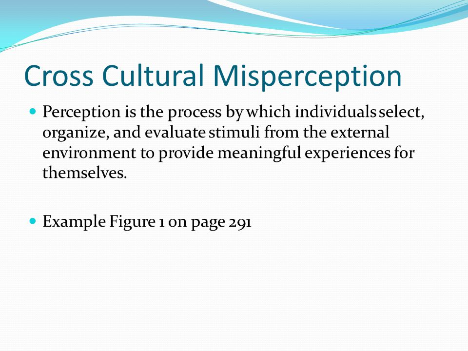 Cross Cultural Misperception