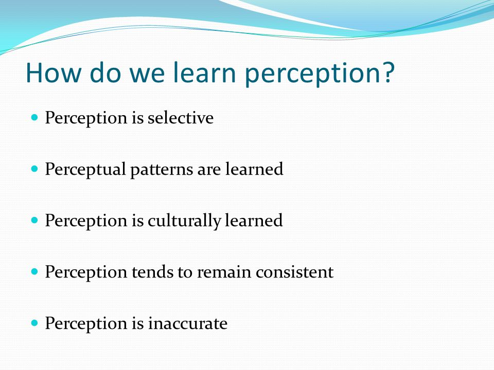 How do we learn perception