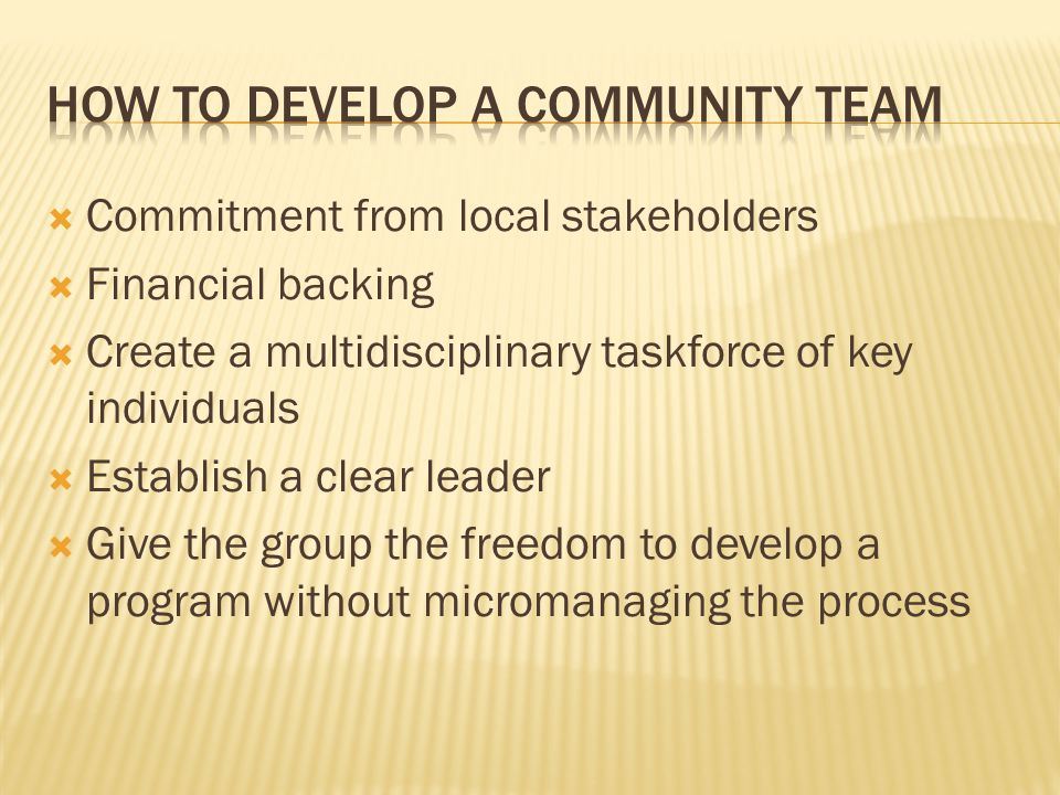 How to develop a community team