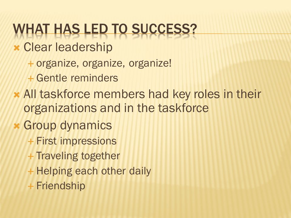 What has led to success Clear leadership