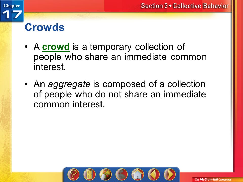 Crowds A crowd is a temporary collection of people who share an immediate common interest.