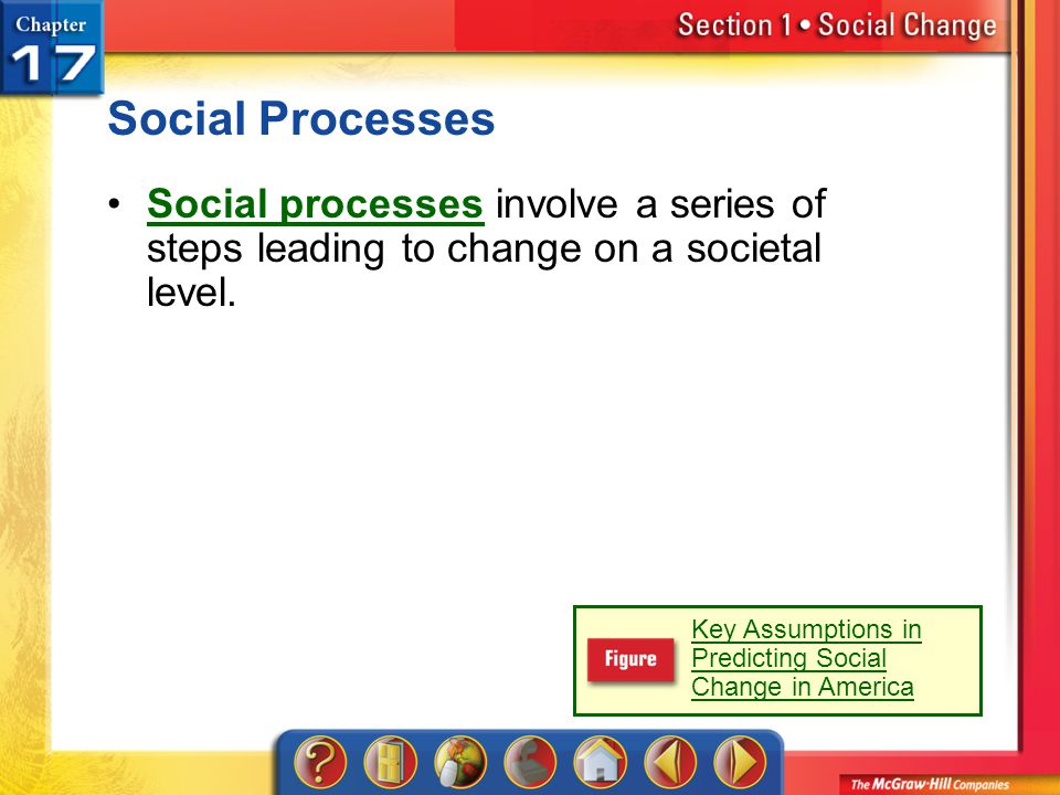 Social Processes Social processes involve a series of steps leading to change on a societal level.