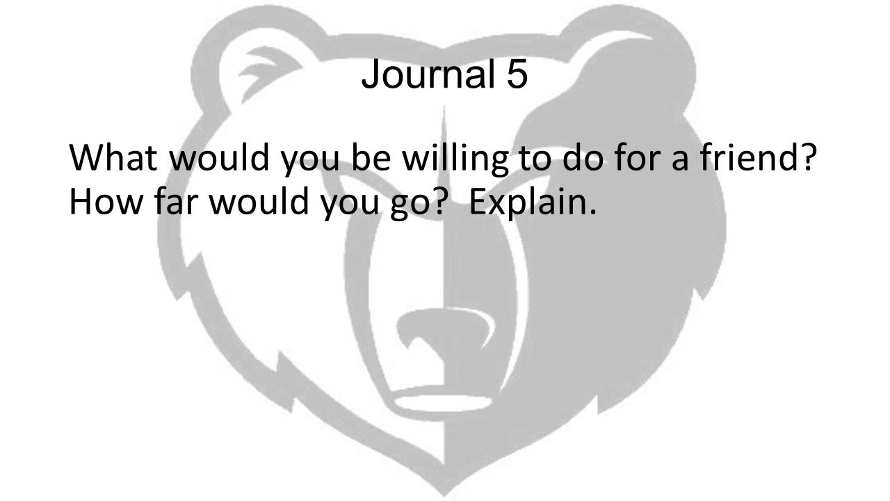 Journal 5 What would you be willing to do for a friend How far would you go Explain.