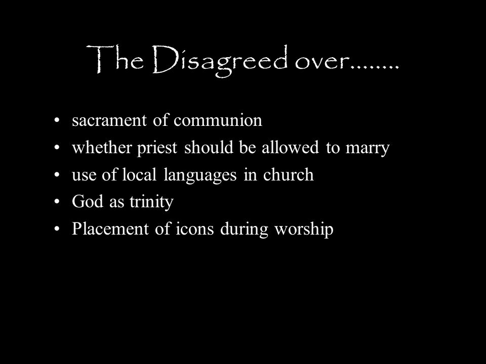The Disagreed over…….. sacrament of communion