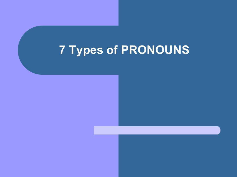 7 Types of PRONOUNS