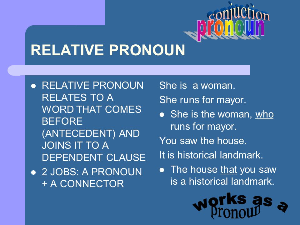 conjuction pronoun RELATIVE PRONOUN works as a pronoun