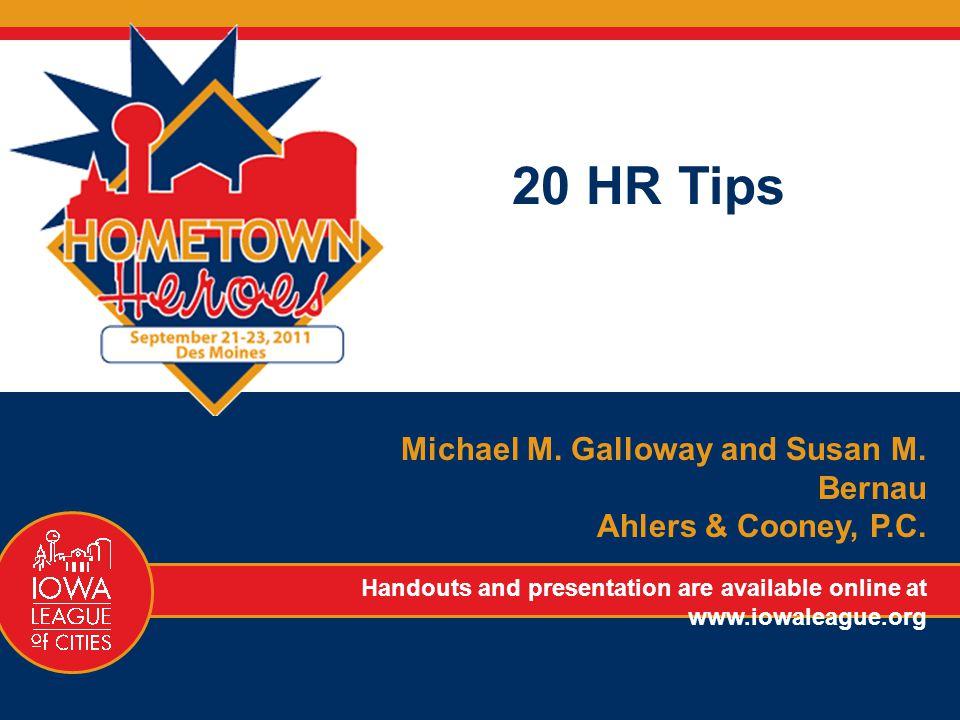 20 HR Tips Michael M. Galloway and Susan M. Bernau