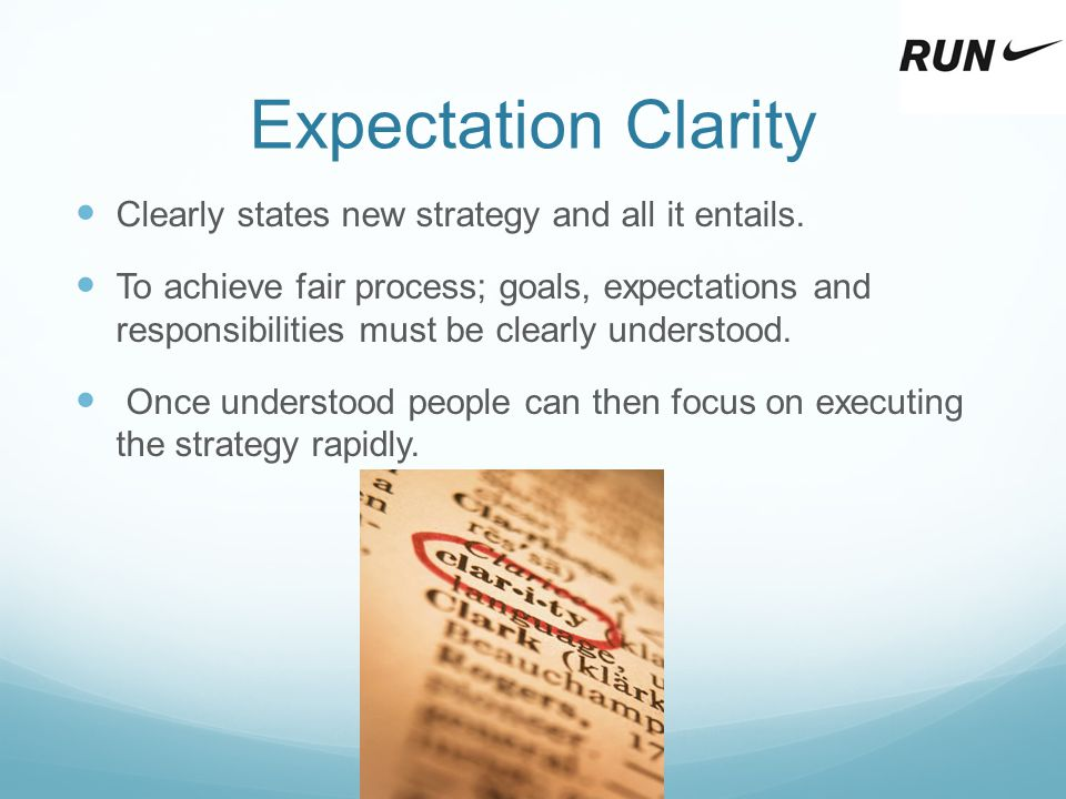 Expectation Clarity Clearly states new strategy and all it entails.