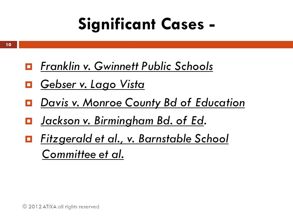 Significant Cases - Franklin v. Gwinnett Public Schools