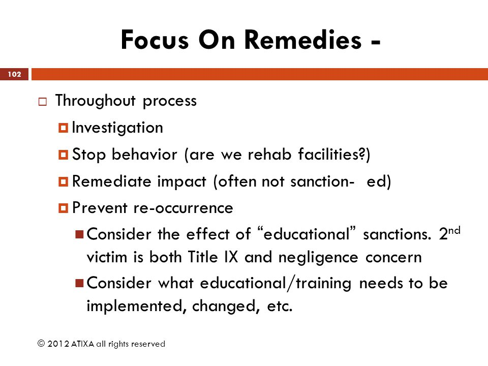 Focus On Remedies - Throughout process Investigation
