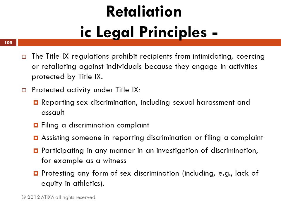 Retaliation ic Legal Principles -