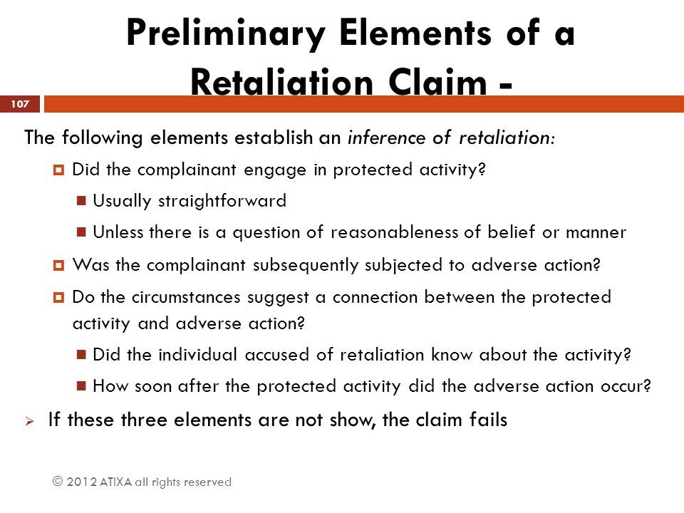 Preliminary Elements of a Retaliation Claim -