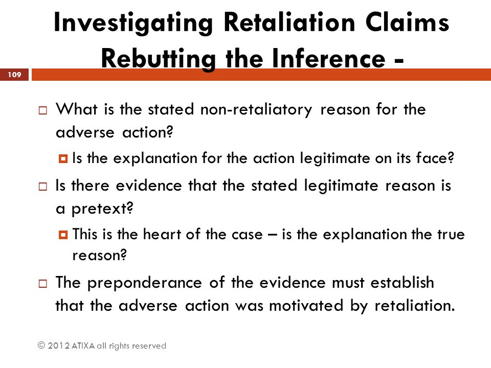 Investigating Retaliation Claims Rebutting the Inference -