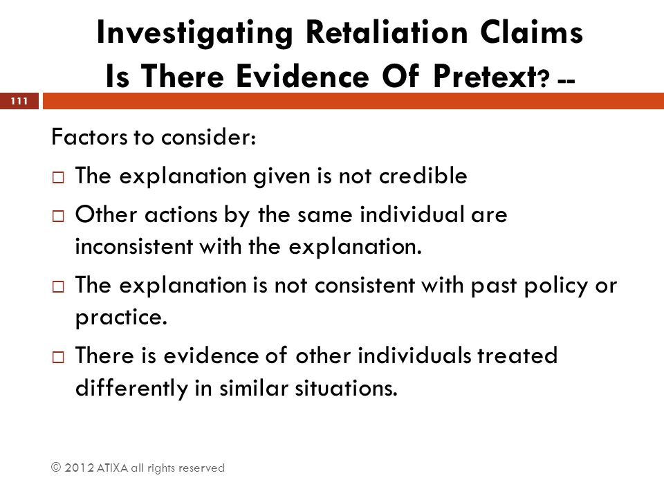 Investigating Retaliation Claims Is There Evidence Of Pretext --